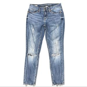 Calvin Klein Distressed Ankle Skinny Jeans